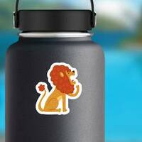 Cute Yawning Cartoon Lion Sticker on a Water Bottle example