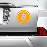 Crypto Currency Bitcoin Sticker on a Car Bumper example
