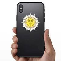 Sun With Human Face Symbol Bohemian Sticker