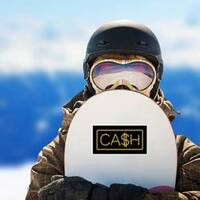 Gold Chain Cash Lettering Sticker on a Snowboard example