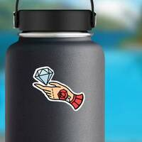 Tattoo Style Diamond and Hand Sticker on a Water Bottle example