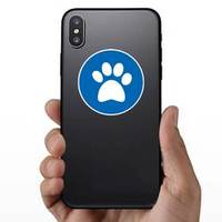 Paw Print In Blue Circle Sticker example