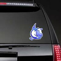 Blue Watercolor Silhouette Sticker on a Rear Car Window example