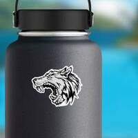 Cartoon Growling Grey Wolf Head Sticker on a Water Bottle example