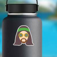 Hippie Man with Long Hair Sticker on a Water Bottle example