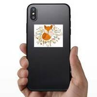 Fox Sleeping On Flowers Sticker on a Phone example