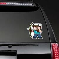Illustration Of Cartoon Archery Player Pixel Sticker example