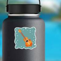 Guitar With Flowers and Stars Hippie Culture Sticker on a Water Bottle example