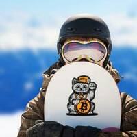 Lucky Cat Bitcoin Sticker on a Snowboard example