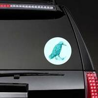 Watercolor Hand Drawn Turquoise Crow Sticker example