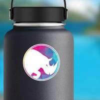 Rhino Logo In Multicolor Circle Sticker example