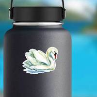 Watercolor Swan Hand Painted Illustration Sticker example