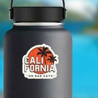 California No Bad Days Sticker on a Water Bottle example