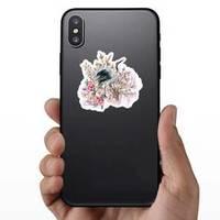 Hand Drawn Crane Bird And Flower Bouquet Illustration Sticker example