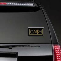 Gold Chain Cash Lettering Sticker on a Rear Car Window example