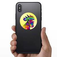 Colorful Rooster Chicken Head On Pop Art Sticker example