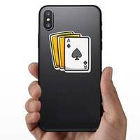 Playing Card Cartoons Gold Back Sticker