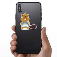 Cute Little Beaver Is Smiling In Clothes Sticker