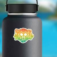 Summer Of Love Rainbow Hippy Sticker on a Water Bottle example