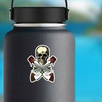 Skull with Crossed Guns and Roses Sticker on a Water Bottle example
