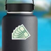 Fan Of Banknotes Sticker on a Water Bottle example