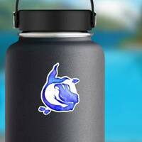 Blue Watercolor Silhouette Sticker on a Water Bottle example