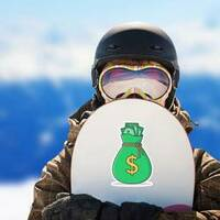 Sack of Money Sticker on a Snowboard example