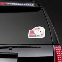 Royal Flush Hearts Five Card Poker Hand Sticker example