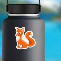 Surprised Cartoon Fox Sticker on a Water Bottle example