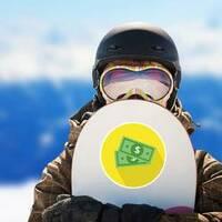 Dollar Bills Yellow Circle Sticker on a Snowboard example
