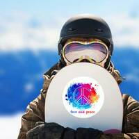 Hippie Love and Peace Colorful Watercolor Sticker on a Snowboard example