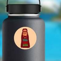Peace Love Music Long Bearded Hippie Sticker on a Water Bottle example