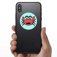 Funny Crab Cartoon On Blue Sticker