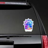 Hippie Vintage Car Mandala Hippie Sticker on a Rear Car Window example