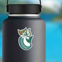 Mermaid With Harp Sticker on a Water Bottle example