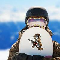 Skeleton Cowboy with Pistols Sticker on a Snowboard example