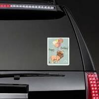 Cute Flying Happy Birthday Lion Sticker on a Rear Car Window example