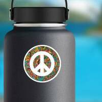 Hippie Style Ornamental Watercolor Peace Sign Sticker on a Water Bottle example