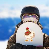 Chicken Cartoon Character Wearing Mask Illustration Sticker example