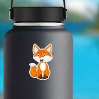 Fox Cartoon Sticker on a Water Bottle example