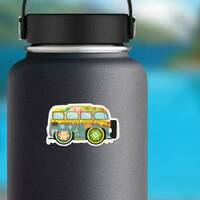 Colorful Hippie Van Sticker on a Water Bottle example