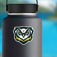 Gold, Yellow And Blue Owl Mascot Sticker on a Water Bottle example