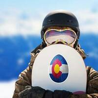 Colorado State Flag Easter Egg Sticker on a Snowboard example