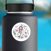 Little Cute Cartoon Mermaid With Sea Creatures Sticker on a Water Bottle example