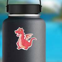 Funny Red Dragon Cartoon Sticker on a Water Bottle example