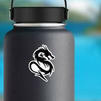 Fighting Black Dragon With Red Eyes on a Water Bottle example
