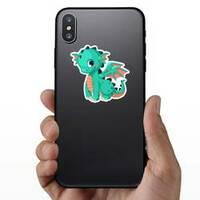 Cute Baby Teal Dragon Cartoon Sticker on a Phone example