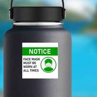 Notice Face Mask Must Be Worn Sticker