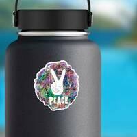 Hippie Ornamental Peace Sticker on a Water Bottle example