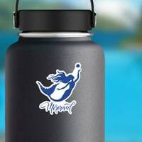 Mermaid and Fish Silhouette Sticker on a Water Bottle example